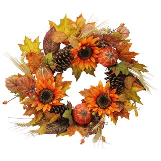 24-inch Artifical Festive Harvest Display Wreath with Sunflowers, Pumpkins, Pine Cone, Maple Leaves, and Wheat