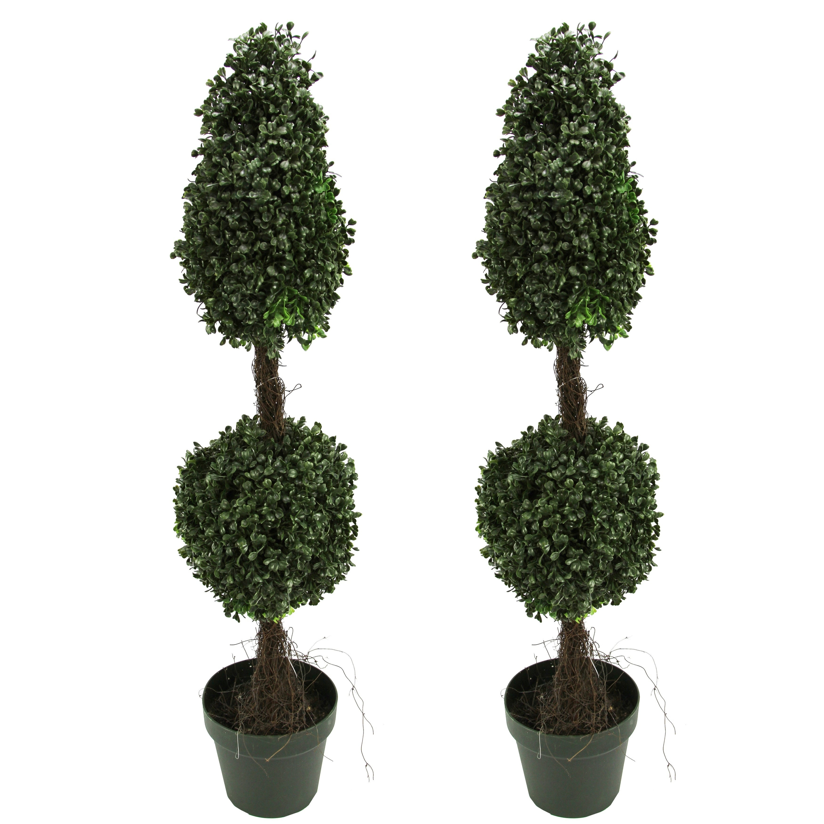 artificial double ball-shaped green boxwood topiary plant tree