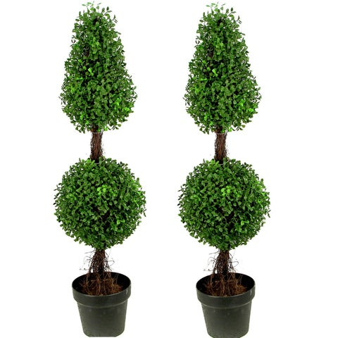 Artificial Double Ball Boxwood 3' Topiary Plant Tree in Pot (Set of 2) - Black - N/A