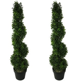Link to 3-foot Faux BoxwoodSpiral Topiary Plant in Plastic Pots (Set of 2) Similar Items in Decorative Accessories