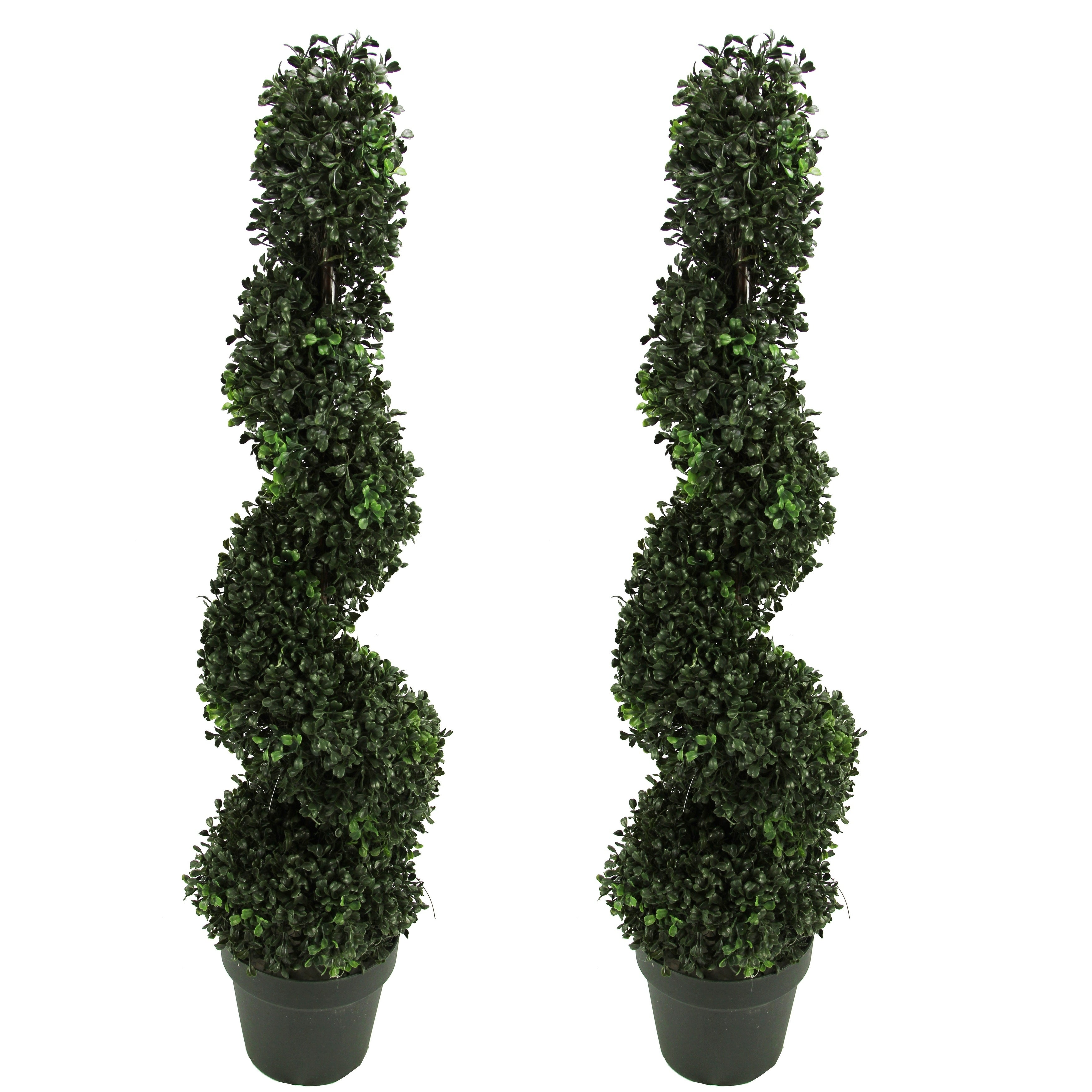 artificial boxwood leave spiral topiary plant trees plastic pots 3