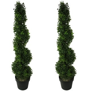 Admired by Nature Green Resin 3-foot Artificial Boxwood Leave Spiral Topiary Plant Trees in Plastic Pots (Set of 2)