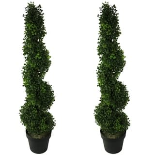 3 Foot Faux Boxwoodspiral Topiary Plant In Plastic Pots Set Of 2