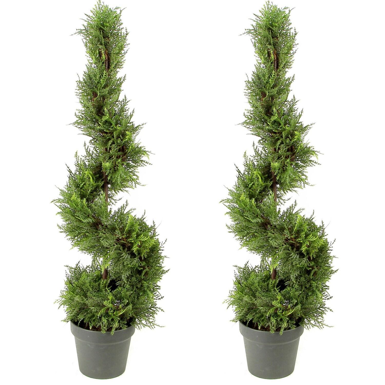 Two Cypress Topiary 5ft 4 Artificial Tree Indoor Outdoor Cedar Plant Fake Patio Floral Decor Home Garden Paladiosimara Com Br