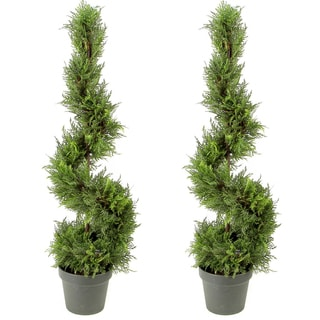 Green Resin/Plastic 3-foot Artificial Cypress Leaves Spiral Topiary Plant Tree in Pot (Set of 2)