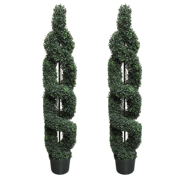 Topiary Spiral Trees: Shop 5' Faux Boxwood Double-Spiral Topiary Tree In Plastic