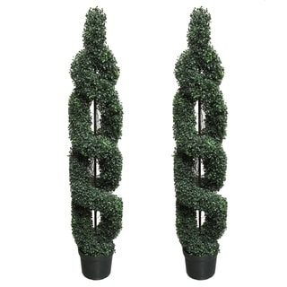 5' Artificial Boxwood Leaf Double-spiral Green Topiary Plant Tree in Plastic Pot (Set of 2)