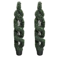 5' Faux Boxwood Double-Spiral Topiary Tree in Plastic Pot (Set of 2)