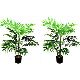 Admired by Nature Green Resin 3-foot Artificial Paradise Palm Tree Plants in Plastic Pots (Set of 2)