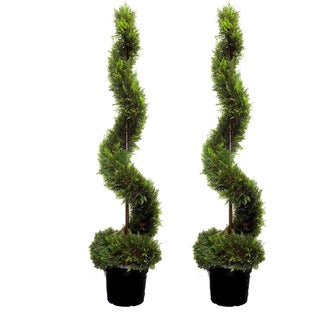 Admired By Nature Artificial Cypress Leaf 5u0027 Spiral Topiary Plant Tree In  Green Plastic Pot