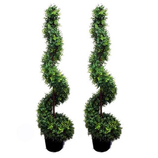 Green 5-foot Artificial Money Leaf Spiral Topiary Plant Tree in Plastic Pot (Set of 2)