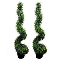 5-foot Faux Money Leaves Spiral Topiary Tree in Plastic Pot (Set of 2)