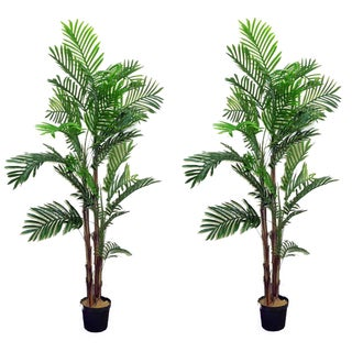 Artificial Areca Palm Tree 6-foot Plant in Plastic Pot (Set of 2)
