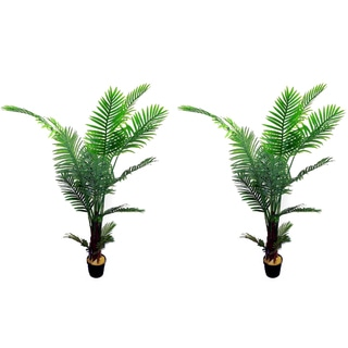 Green Resin/Plastic 6-foot Artificial Paradise Palm Tree Plant in Pot (Set of 2)