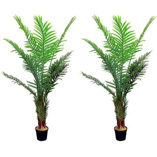 Green Resin 5-foot Artificial Paradise Palm Tree Plant in Plastic Pot (Set of 2)