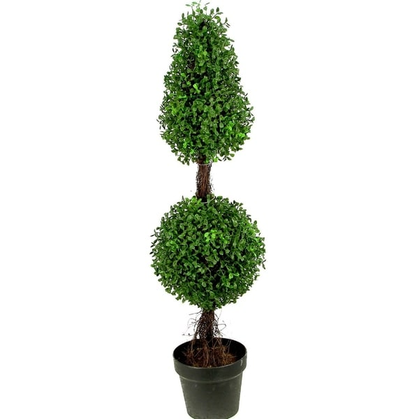 Admired By Nature 3-feet Artificial Sculpted Boxwood Potted Topiary - Black. Opens flyout.