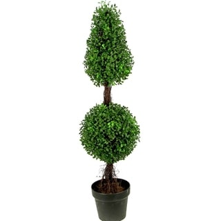 Admired By Nature 3-feet Artificial Sculpted Boxwood Potted Topiary