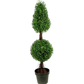 Admired By Nature 3-feet Artificial Sculpted Boxwood Potted Topiary - Black