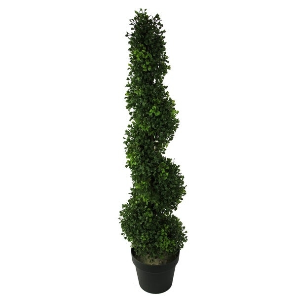 3-foot Faux Boxwood Leaves Spiral Topiary Plant Tree in Plastic Pot. Opens flyout.