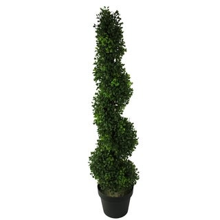 Green Resin 3-foot Artificial Boxwood Leaves Spiral Topiary Plant Tree in Plastic Pot