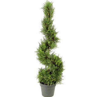 Admired by Nature Green Resin 3-foot Artificial Cypress Topiary Tree in Plastic Pot