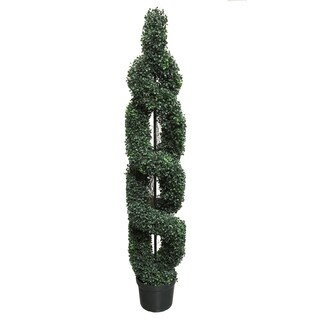 Green Resin 5-foot Artificial Boxwood Leaves Double Spiral Topiary Plant Tree in Plastic Pot