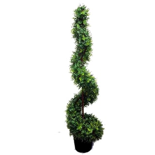 Green Resin 5-foot Artificial Money Spiral Topiary Plant Tree