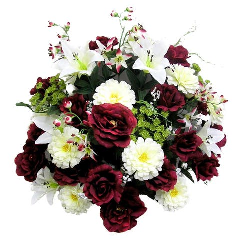 40 Stems Artificial Rose, Lily, Zinnia, Queen Anne's Lace Mixed Flower Bush with Greenery