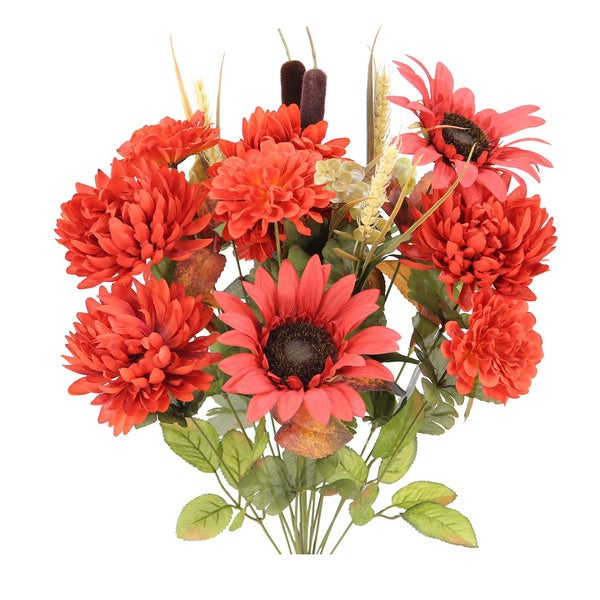 Admired by Nature Sunflower, Mum, and Zinna Multicolored Silk 18-stem Artificial Mixed Flowers Bush