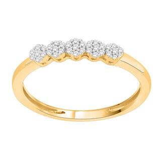 Trillion Designs 10k Yellow Gold 1/6ct TDW Diamond Flower Cluster Wedding Band (H-I, I1-I2)