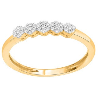 Trillion Designs 14k Yellow Goldplated Sterling Silver 1/6ct TDW Diamond Flower Cluster Wedding Band (H-I, I1-I2)
