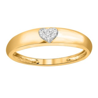 Trillion Designs 14k Yellow Goldplated Sterling Silver Round-cut Natural Diamond Accent Heart Wedding Band