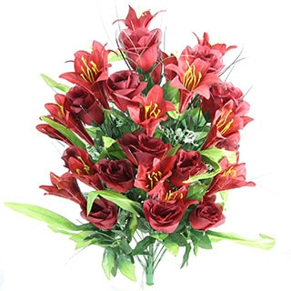 Artificial Rose Buds and Lily Foliage Flower Mixed Bush