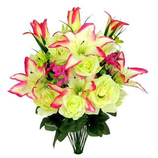 Artificial Full Blooming Rose, Lilies and Buds, and Greenery Mixed Bush (Case of 30)