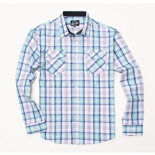 Something Strong Men's Long Sleeve Plaid Shirt in Green