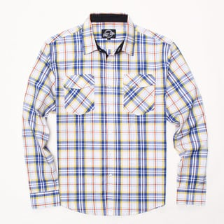 Something Strong Men's Long Sleeve Plaid Shirt in Yellow