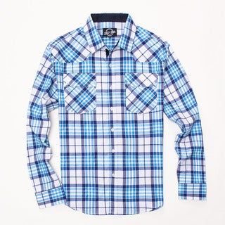 Something Strong Men's Long Sleeve Plaid Shirt in White/Blue