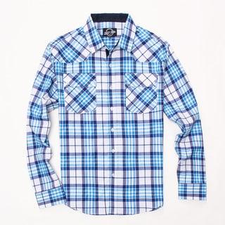 Something Strong Men's Long Sleeve Plaid Shirt in White/Blue