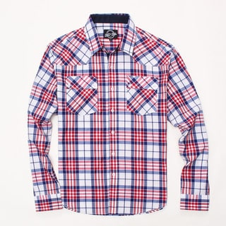 Something Strong Men's Long Sleeve Plaid Shirt in White/Red