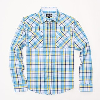 Something Strong Men's Long Sleeve Plaid Shirt in Blue/Yellow