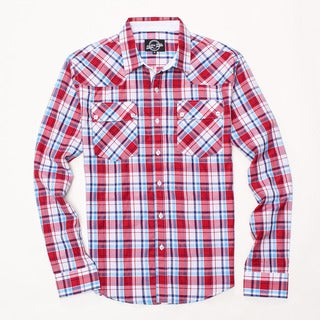 Something Strong Men's Long Sleeve Plaid Shirt in Red