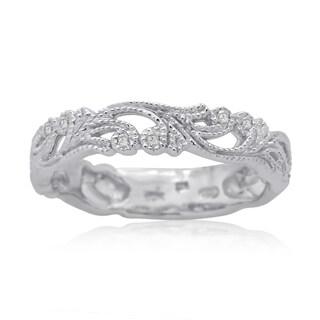 10k White Gold 1/10ct TDW Round Diamond Filigree Fashion Stackable Ring (H-I, I2-I3)