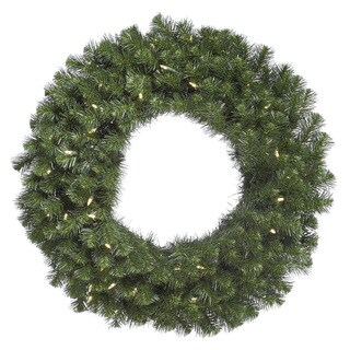48-inch Douglas Fir Wreath With 200 Warm White LED Lights and 480 Tips