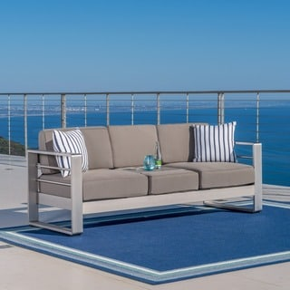 Cape Coral Outdoor Loveseat Sofa With Tray By Christopher Knight Home