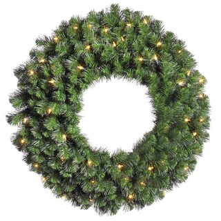 Green Artificial 30-inch Douglas Fir Wreath with 50 Clear Dura-Lit and 240 Tips