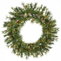 """36"""" Pre-Lit Mixed Country Pine Artificial Christmas Wreath - Clear Lights"""