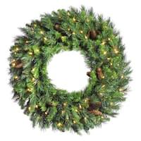 48-inch Cheyenne Pine Wreath with 200 Warm White LED Lights