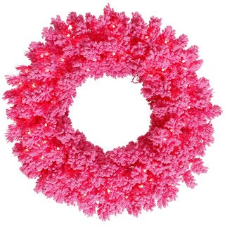 Vickerman Flocked Pink 24-inch Artificial Wreath With 50 Pink LED Lights