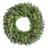 "30"" Cheyenne Pine Artifical Christmas Wreath - Warm White LED lights"