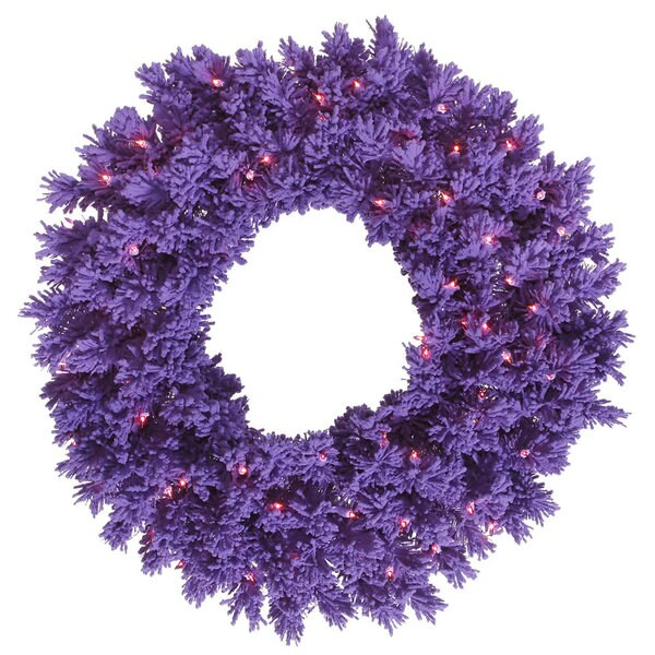 Purple Artificial 24-inch Flocked Wreath with 50 Purple LED Lights and 150 Tips